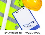 yellow hi vis safety vest and... | Shutterstock . vector #792924907