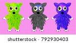Colorful Set Of Cartoon Cat...