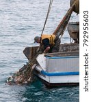 Small photo of Akaroa, New Zealand - November 20 2017. A professional fisherman pulls a net full of a variety of fish species into his small trawler boat