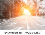 blur curve road in green... | Shutterstock . vector #792964363
