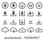 vector download icon set black...   Shutterstock .eps vector #792964957