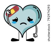 crying heart with aid band... | Shutterstock .eps vector #792974293