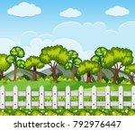 nature scene with trees and... | Shutterstock .eps vector #792976447