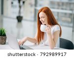 happy smiling redhead woman... | Shutterstock . vector #792989917