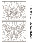 contour set of illustrations of ... | Shutterstock .eps vector #793000117