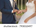 bride and groom putting a...   Shutterstock . vector #793010497