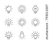 light bulb  line icon set.... | Shutterstock .eps vector #793011007