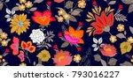 colorful folk art style border. ...   Shutterstock .eps vector #793016227