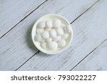 white naphthalene balls on... | Shutterstock . vector #793022227