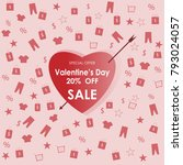 valentine's day 20  off sale... | Shutterstock .eps vector #793024057