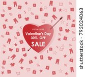 valentine's day 30  off sale... | Shutterstock .eps vector #793024063