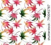 autumn leaf of maple pattern in ... | Shutterstock . vector #793041787
