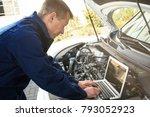 auto mechanic using computer...   Shutterstock . vector #793052923