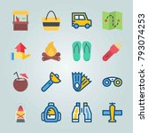 icon set about beach and... | Shutterstock .eps vector #793074253