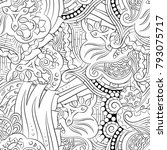 seamless mehndi vector pattern. ... | Shutterstock .eps vector #793075717