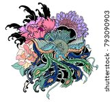 traditional japanese peacock... | Shutterstock .eps vector #793090903