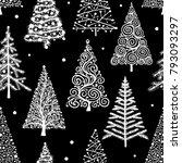 christmas trees  seamless... | Shutterstock .eps vector #793093297