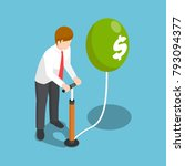 flat 3d isometric businessman... | Shutterstock .eps vector #793094377