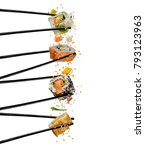 pieces of sushi with wooden... | Shutterstock . vector #793123963