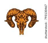goat head illustration white... | Shutterstock .eps vector #793130467