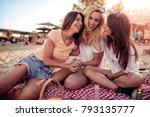 three young happy women friends ... | Shutterstock . vector #793135777