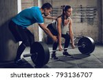 young woman doing hard exercise ... | Shutterstock . vector #793136707