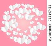 red hearts confetti falling... | Shutterstock .eps vector #793147453