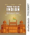 flag hositing on indian... | Shutterstock .eps vector #793150897