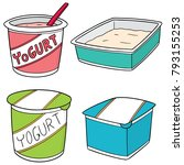 vector set of yogurt | Shutterstock .eps vector #793155253