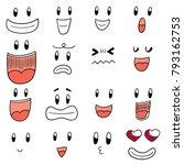 vector set of cartoon face | Shutterstock .eps vector #793162753