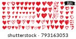 big set of red grunge hearts....