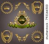 set of golden royal shields | Shutterstock .eps vector #793166503