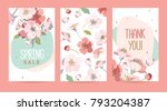 A set of cards with blooming cherry. Design template card for the hotel, beauty salon, spa, restaurant, club. Vector illustration of a spring bouquet of flowers. | Shutterstock vector #793204387