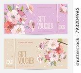 gift voucher with cherry... | Shutterstock .eps vector #793204963