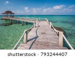 wooded bridge to pavilion at... | Shutterstock . vector #793244407