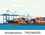cargo logistics truck and... | Shutterstock .eps vector #793246303