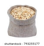 oat flakes in burlap bag...   Shutterstock . vector #793255177
