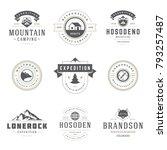 camping logos templates vector... | Shutterstock .eps vector #793257487