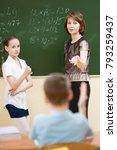 school children with teacher in ... | Shutterstock . vector #793259437