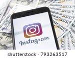 apple iphone 8  with instagram...   Shutterstock . vector #793263517
