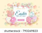 horizontal easter sale banner ... | Shutterstock .eps vector #793269823