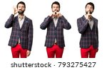 set of well dressed man making... | Shutterstock . vector #793275427