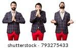 set of well dressed man pleading | Shutterstock . vector #793275433