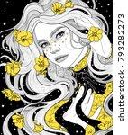 beautiful girl in a cape...   Shutterstock .eps vector #793282273