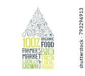 100  organic food vector... | Shutterstock .eps vector #793296913