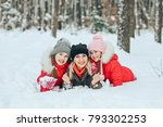 happy family on winter vacation ... | Shutterstock . vector #793302253