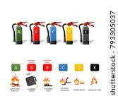 fire extinguisher different... | Shutterstock . vector #793305037