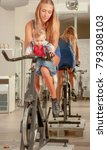 mother teaching baby cycling... | Shutterstock . vector #793308103
