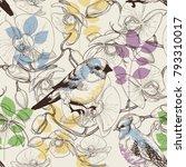 cute birds and flowers seamless ... | Shutterstock .eps vector #793310017