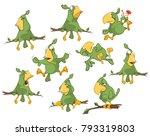 vector set of cute green... | Shutterstock .eps vector #793319803